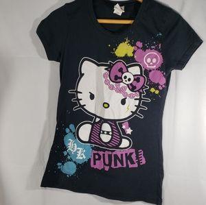 Sanrio Black Hello Kitty Punk Tee Size Medium